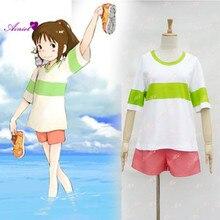 Spirited Away Chihiro Ogino Cosplay Costume Japan Anime Casual Costumes T shirt+Shorts