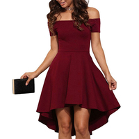 Off The Shoulder Women Summer Dress 2017 Slash Neck Sexy Elegant Party Dresses Burgundy Blue Black