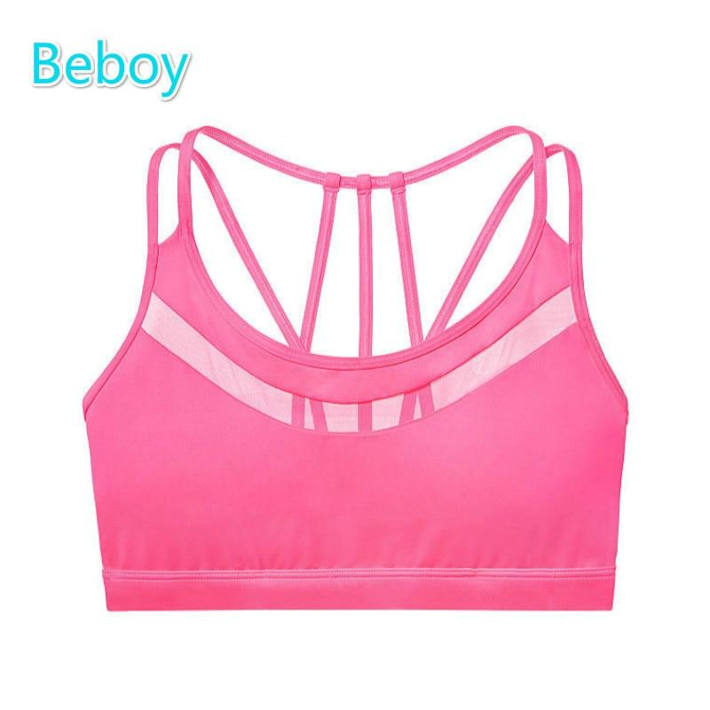 Prix pour Beboy sexy retour sport soutien-gorge amovible tapis yoga sport soutien-gorge haut push up soutien-gorge de fitness compression sous-vêtements antichoc gilet d'exercice