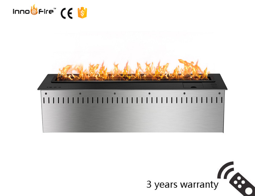800mm Long Remote Control Intelligent Wifi Black Or Silver Automatic Ethanol Insert Electric Fireplace