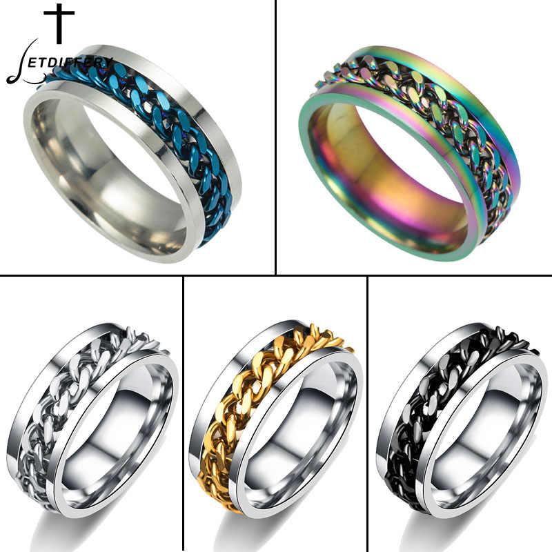 Letdiffery stal nierdzewna kolorowy łańcuch pierścienie Spinner Punk Rock Finger Anel pierścień obrączka biżuteria męska