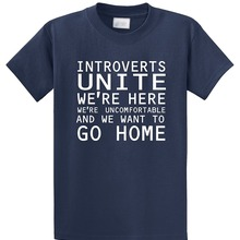 43bf420587 Random T Shirts Introverts Unite Were Here Uncomfortable And We Men'S  Novelty Short Sleeve O-