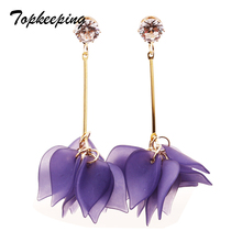 Topkeeping Brand New Fashion Jewelry Girls Candy Color Petal Dangle Earring Women Multilevel Anti allergy Tassel