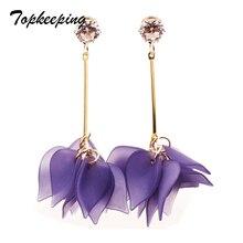 Topkeeping Brand New Fashion Jewelry Girls Candy Color Petal Dangle Earring Women Multilevel Anti allergy Tassel Flower Earrings