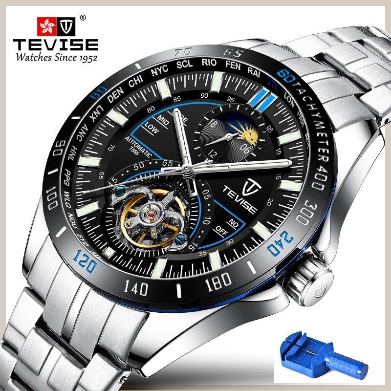 TEVISE montre automatique hommes lune Phase Tourbillon squelette montre mécanique montres casual mâle horloge Relogio Masculino