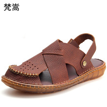 summer mens sandals Genuine Leather outdoor leisure fender men genuine leather slippers roman shoes flip flops