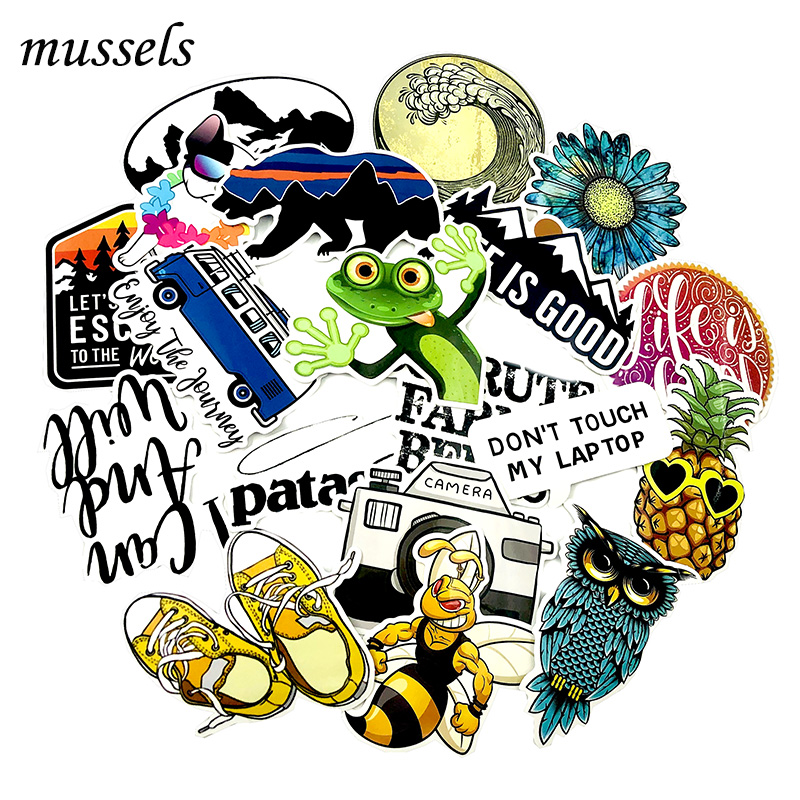 19Pcs Cute Little Lizard Trend Travel Casual Outdoor Stickers For Laptop Skateboard Guitar DIY Decorative Furniture Motorcycle
