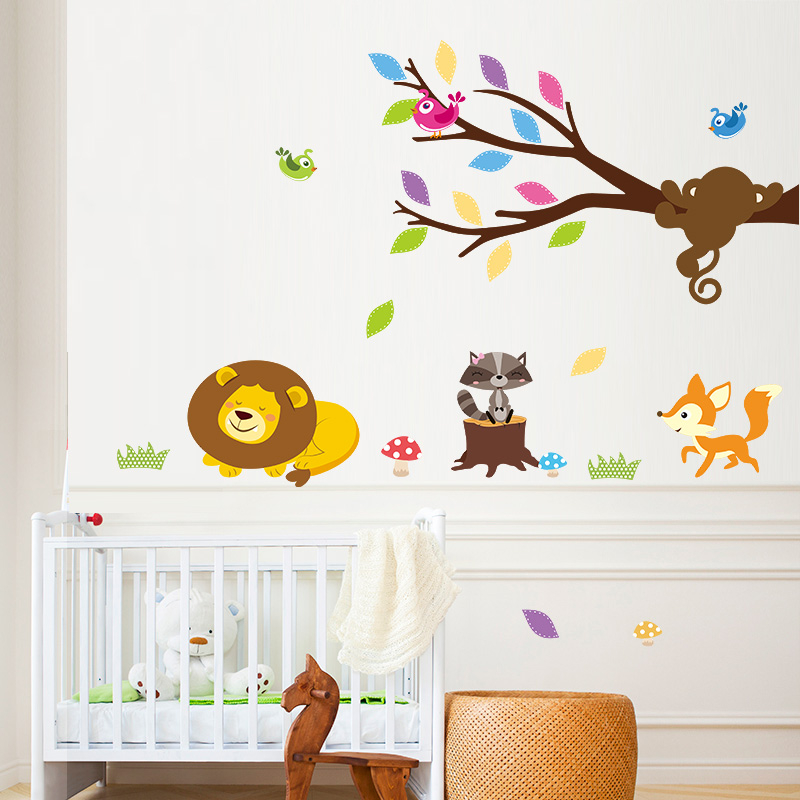 diy monkey climbing tree lion squirrel raccoon decorative wall stickers sticker decals kids baby nursery bedroom decor. Interior Design Ideas. Home Design Ideas