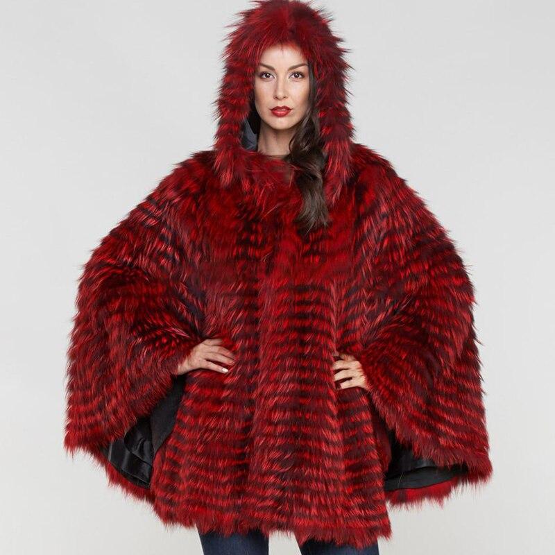 Шуба BFFUR Женская, из натурального меха лисы, пончо, накидка в полоску, женская зимняя мода, Тонкая Шаль, 2019