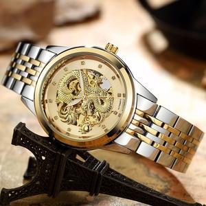 Image 3 - Luxury Luminous Dragon Skeleton Automatic Mechanical Watches For Men Wrist Watch Steel Gold Black Clock Waterproof Mens relogio