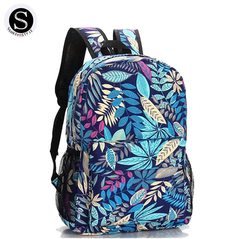 Estilo Senkey 2017 mochila de impresión de lona bolsas escolares para adolescentes diseñador de marcas famosas Mochila De mujer bolsa de dibujos animados