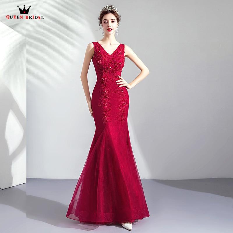 Sirène v-cou Tulle dentelle perles cristal Sexy vin rouge robes de soirée 2019 mode robes de soirée robe robe de soirée CS07
