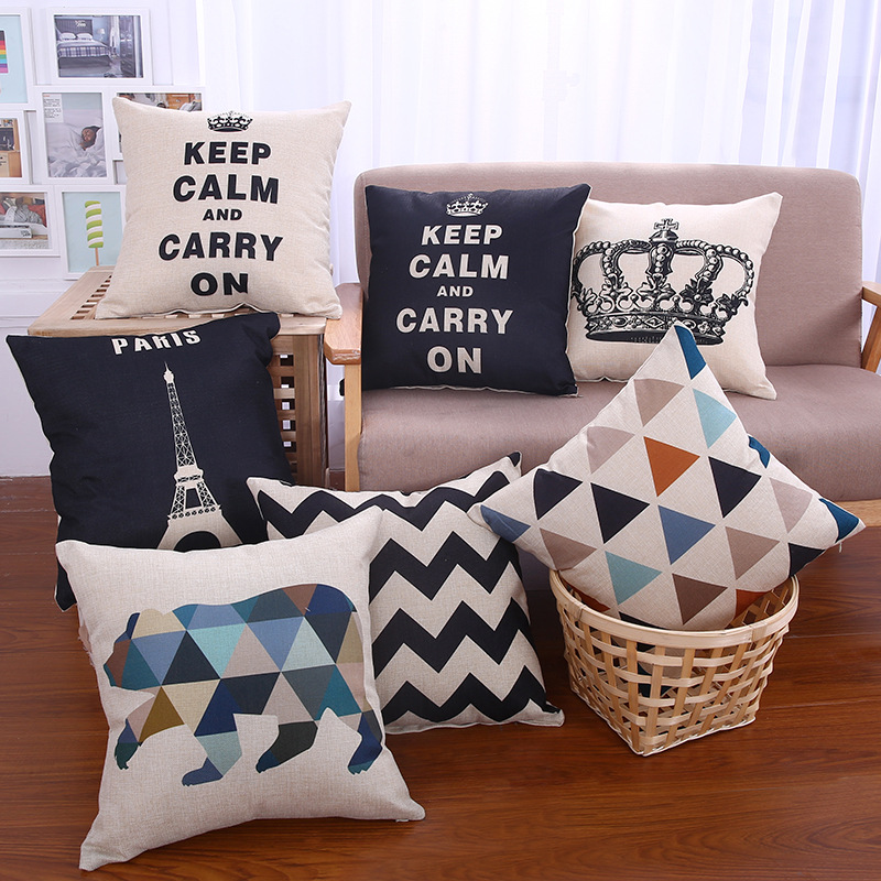 Decorative throw pillows case keep calm Crown cushion covers geometric wave bear cotton linen office chair back cover 45x45cm