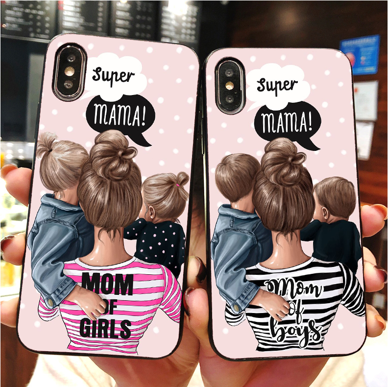 Black Brown Hair Baby Mom Girl Case For iPhone MAX XR XS X10 5 6 7