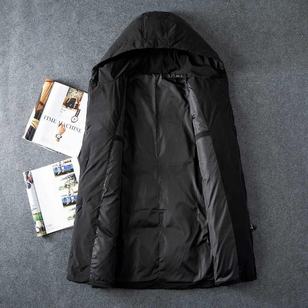 Chaqueta de plumón de pato largo medio de dos bolsillos Casual de moda para hombre negro de invierno chaqueta de plumón con capucha de Color sólido para hombre