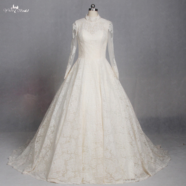 LZ180 Yellow High Neck Long Sleeve Wedding Dress Muslim Dresses Lace Vestido De Noiva