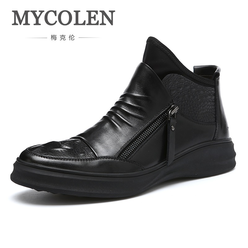 MYCOLEN 2018 Fashion Martin Boots Designer Formal Male Tide Shoes High Quality Men Shoes Lace-Up Genuine Leather Man Boots men shoes martin boots genuine leather male fashion casual shoe to help the high wear water resistant tooling boots