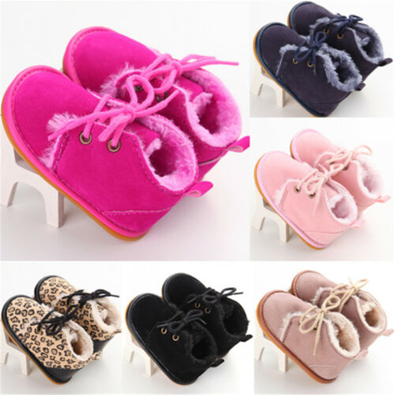 Newborn Baby Girl Shoes Summer Warm Snow Boots Toddler Infant Booties Black Red Girls Pre-Walker Baby Boys Tie Up First Walkers