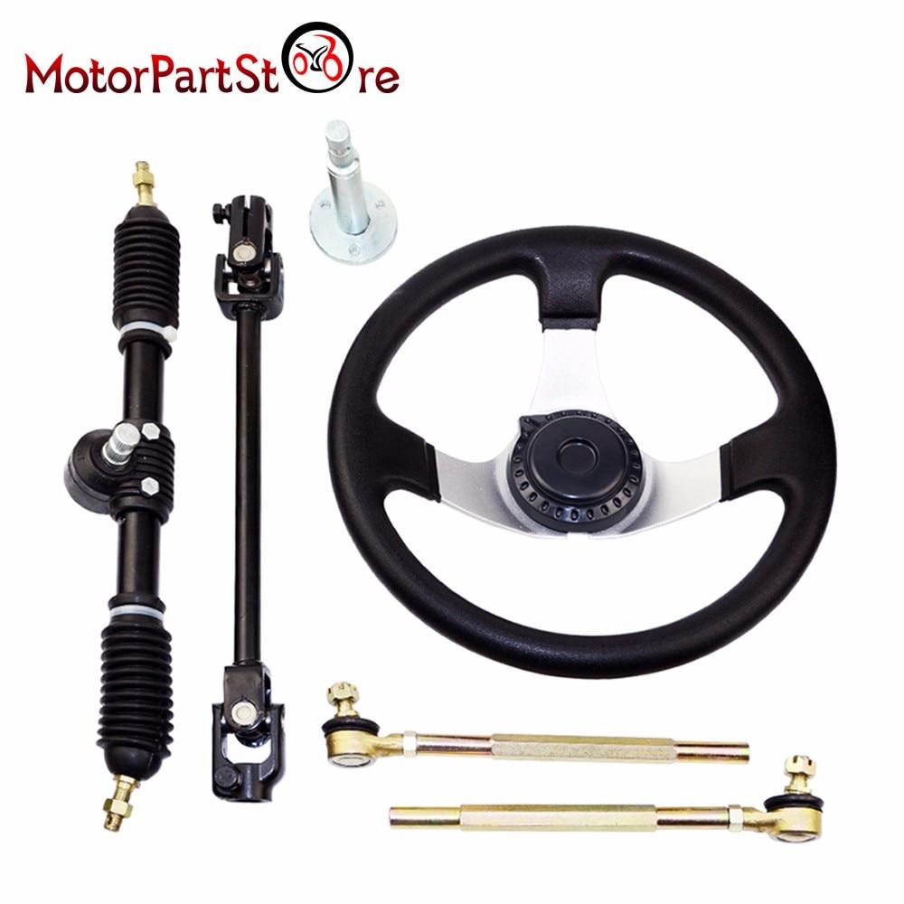 Steering Wheel Set for 110cc Go Kart Karting Tie Rod Rack Adjustable Shaft Steering Knuckle Refires