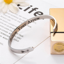 Wide 6mm Cuff Trendy Inspirational Follow Your Arrow Keep Going Bracelets Titanium Encouragement Bangle For Men Women Jewelry
