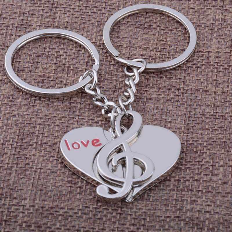 RE 12 pçs/lote Pele De Aço Inoxidável de Alta Qualidade Chaveiro O Chaveiro Nota Espectro Do Amor Do Coração Da Menina do Menino chaveiro Para O Amante