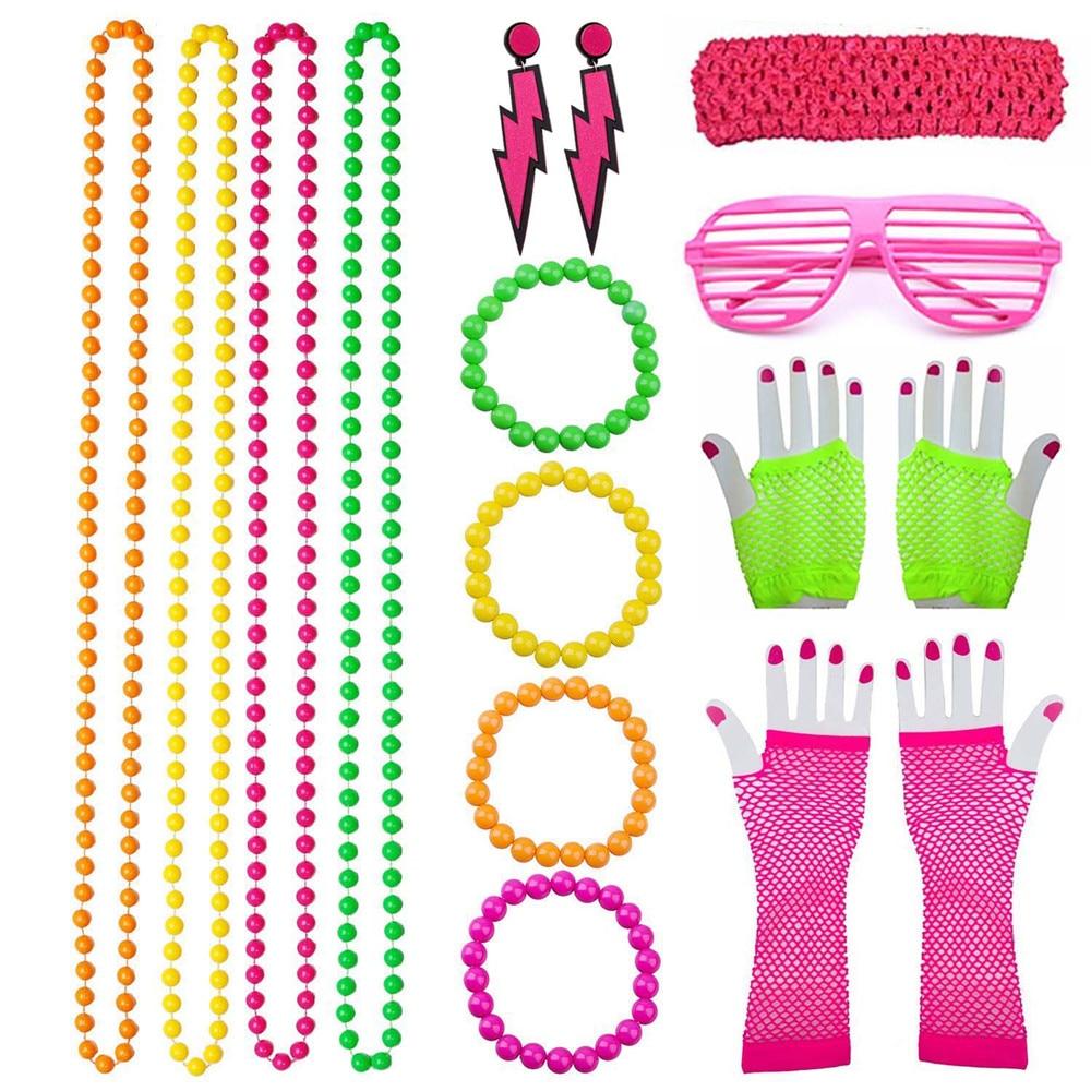 K619 1980s 80s Fluorescent Beads Neon Disco Accessory Costume Necklace Bracelet