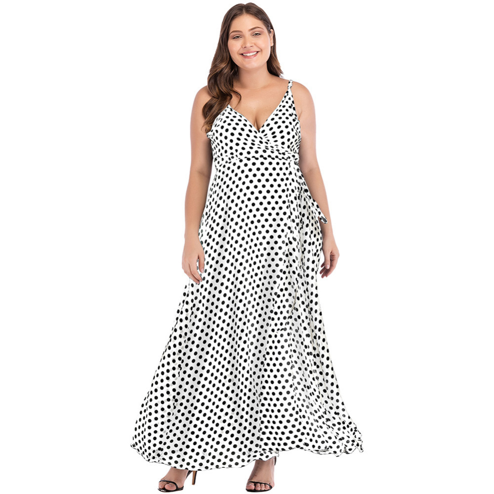 14b2daf9db5c Romacci Mulheres Sexy Maxi Vestidos 5XL Plus Size Imprimir Dot Alta Dividir  Spaghetti Strap Vestido V