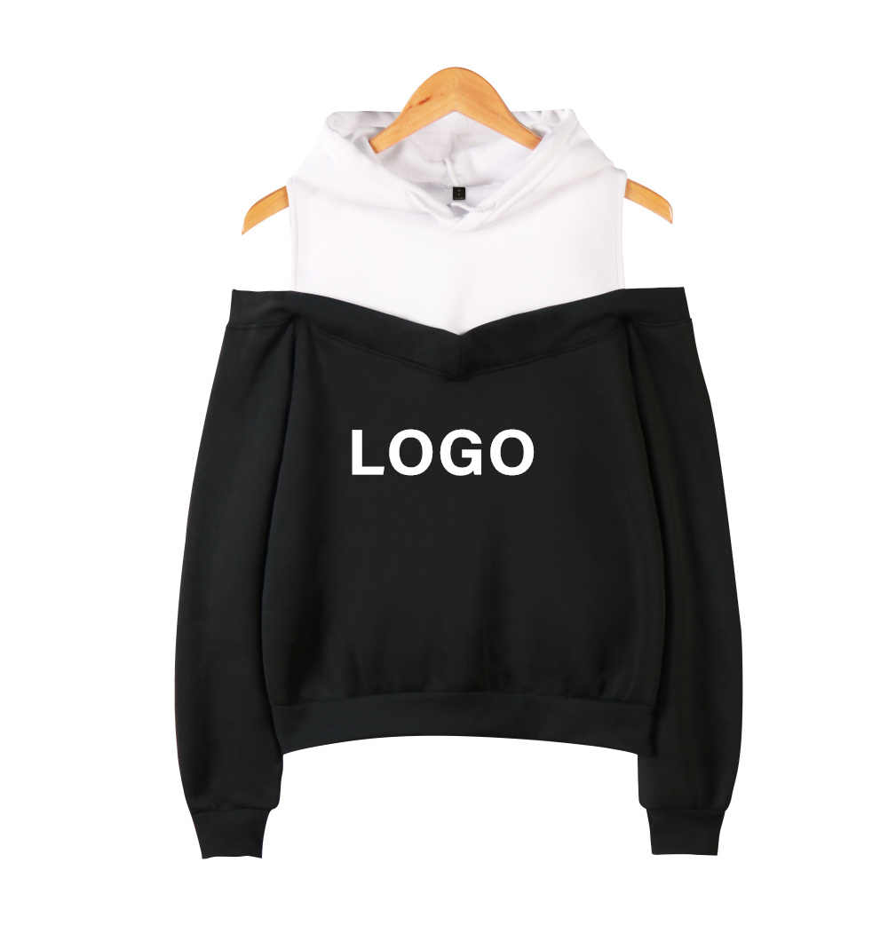 DropShipping DIY Logo Custom Sexy Off Shoulder Hoodies Women  Sweatshirt Streetwear Kpop Customize Pullover Fake Two Pieces