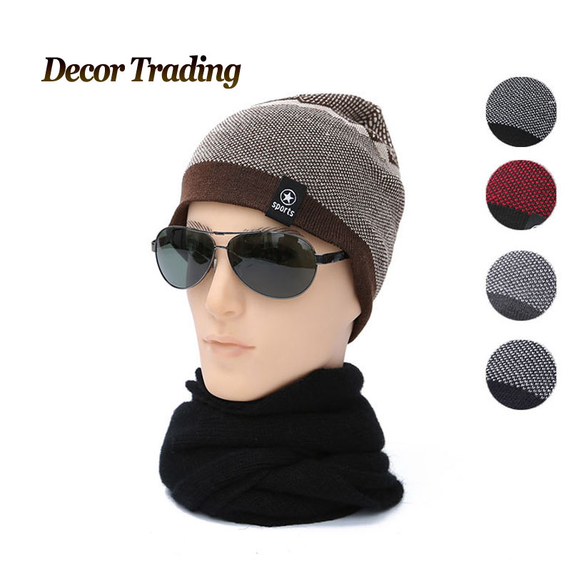 Men's Skullies Autumn Winter Knitted Velvet Hat Male Brand Beanies Cap Casual Solid Color Sets Headgear Hats For Men bonnet skullies