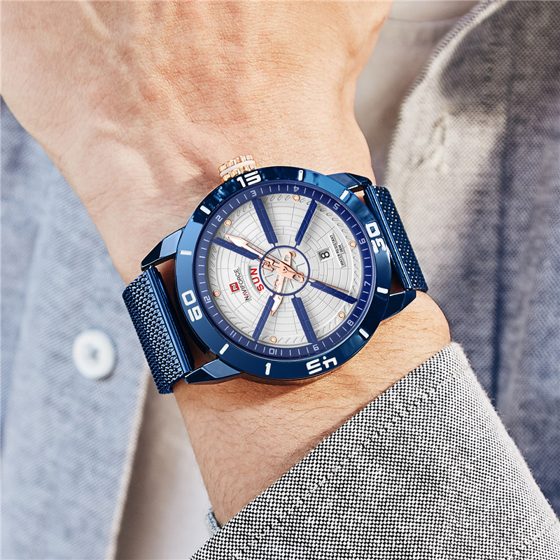 NAVIFORCE Mens Watches Top Brand Luxury Quartz Watch Men Full Steel Men Watch Sport Fashion Business Watches Relogio Masculino 6