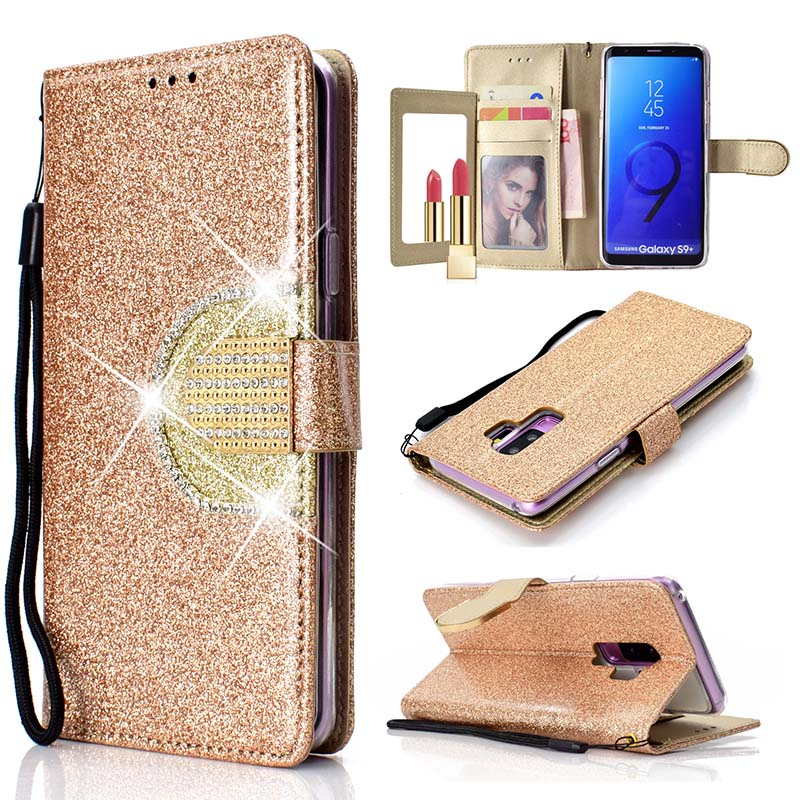Diamond Flip Case For Samsung Galaxy S9 Plus S5 S6 S7 Edge S8 Plus Glitter Wallet Cover Mirror Coque For Samsung Galaxy Note 9