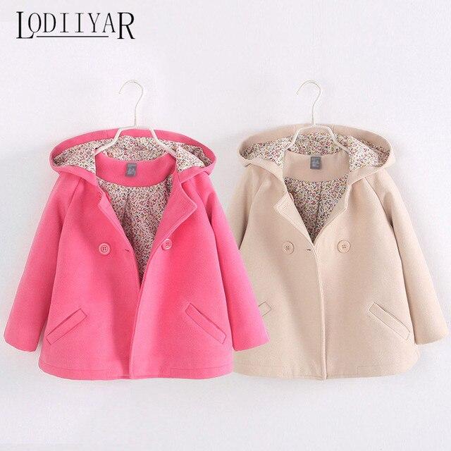 Girls Coats Children Solid Double Breasted Woolen Overcoat 2017 Autumn Winter England Style Kids Hoodies, Outerwear