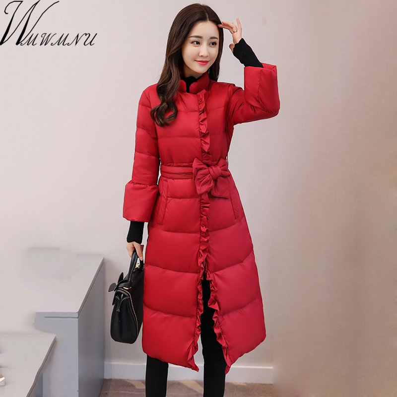 Wmwmnu 2017 new Women Long lace Jackets Padded-Cotton Coats Winter 3/4 sleeve Warm Wadded Female Parkas fashion thick Outerwear women parka thick wadded jacket female winter outerwear slim jackets medium long down cotton parkas solid color coats mz925