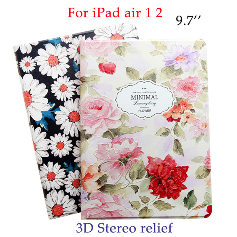 For iPad air 2 PU Leather Case 3D Stereo Colorful Paintig Protective Tablet Stand Fundas For Apple iPad 5 6/air 1 2 Smart Cover zoyu smart cover for apple ipad air 2 air 1 case hot case for ipad 5 6 case