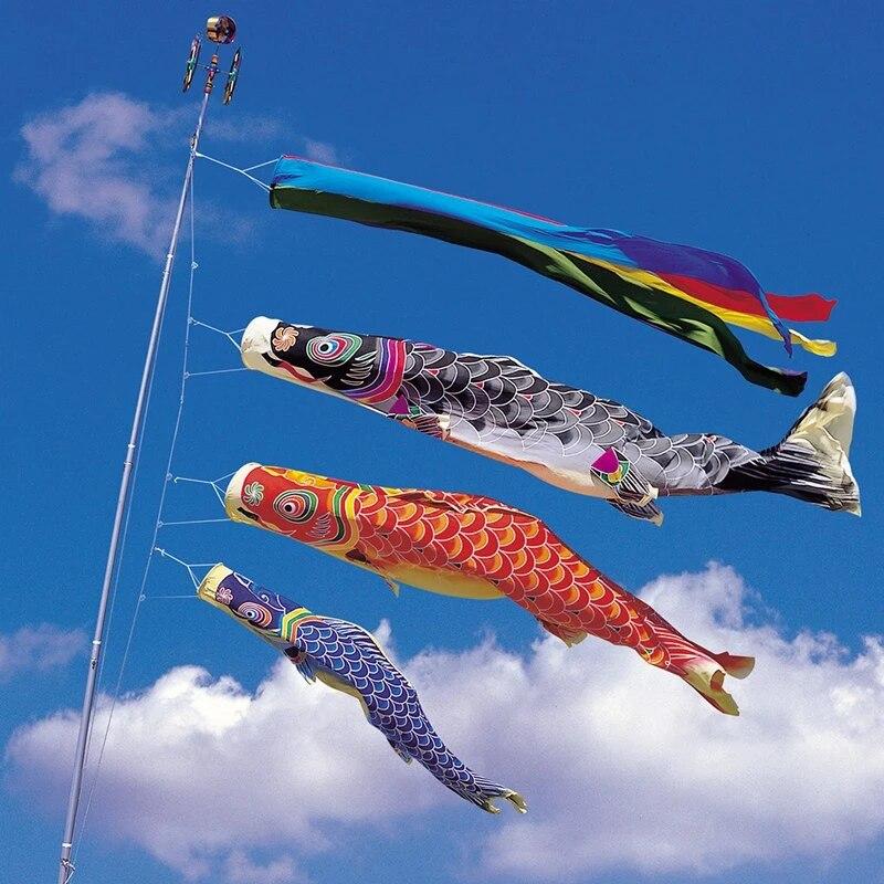 70cm Boys Day Windsock Koi Nobori Wind Streamer Flag Golden Black
