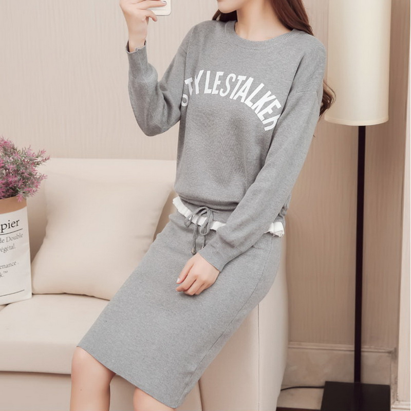 Women Knit Suit Dresses 2018 Autumn Winter New Female Casual Long Sleeve Letter Print Pullovers Sweater Dress 2 Piece Sets 1116