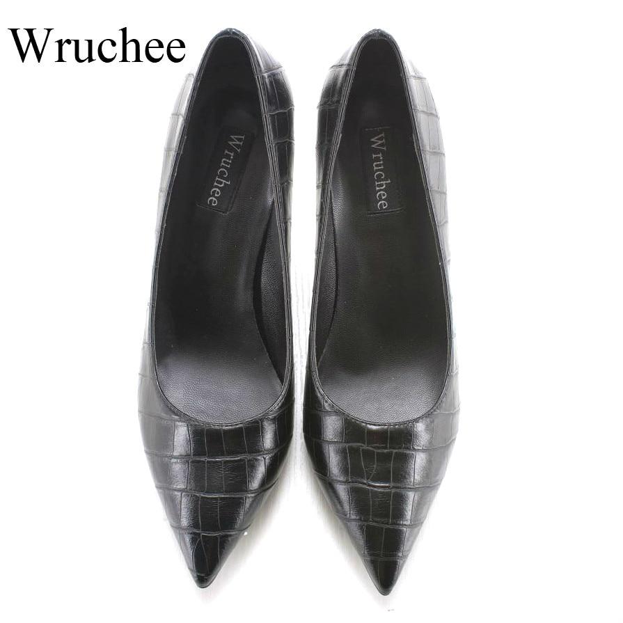 Wruchee lady chaussures chaussures de travail 8 cm pierre en cuir noir à talons hauts pointus orteils chaussures grande taille 42 talons chaussures femmes