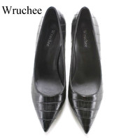 Wruchee lady footwear working shoes 8cm stone leather black high heeled pointed toes shoes big size 42 heels shoes women