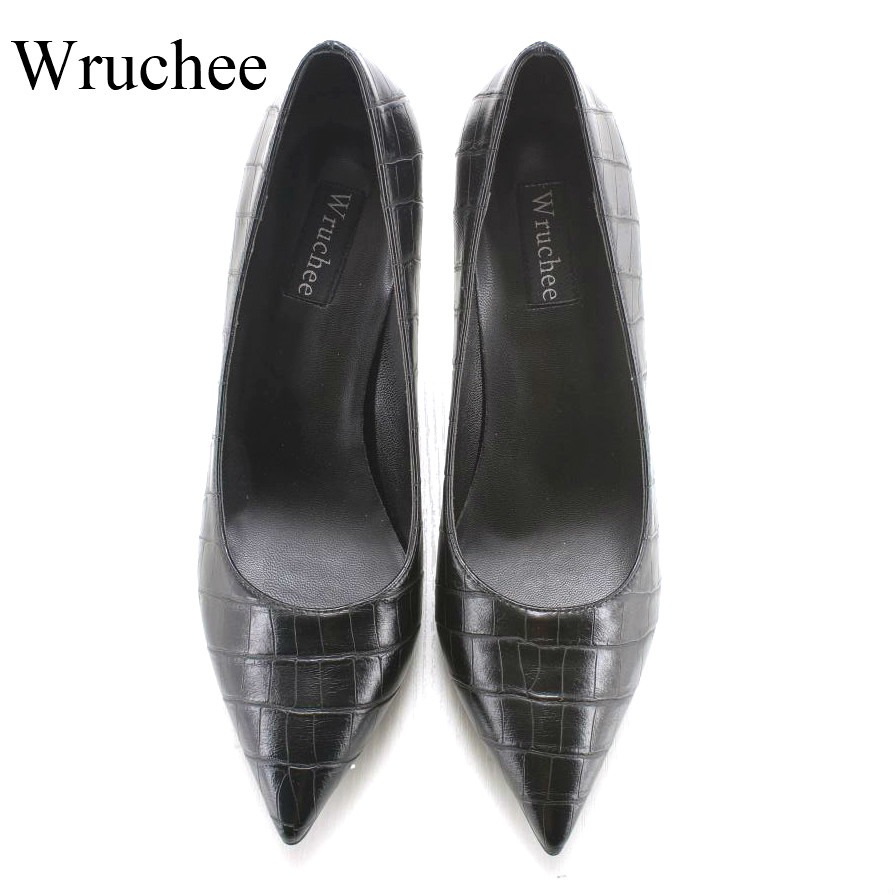 Wruchee lady footwear working shoes 8cm stone leather black high heeled pointed toes  shoes big size 42 heels shoes women Wruchee lady footwear working shoes 8cm stone leather black high heeled pointed toes  shoes big size 42 heels shoes women