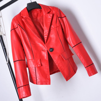 Women Faux Leather Jackets Office Lady's Suit Dress Leather Coat Slim Fit Red Black Short PU Leather Wedding Coat Woman C1717