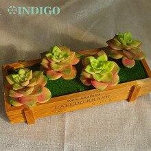 INDIGO- Yellow Artificial Succulent Plant (4pcs +1 Wood Tray)/Set Bonsai Table Decoration Free Shipping