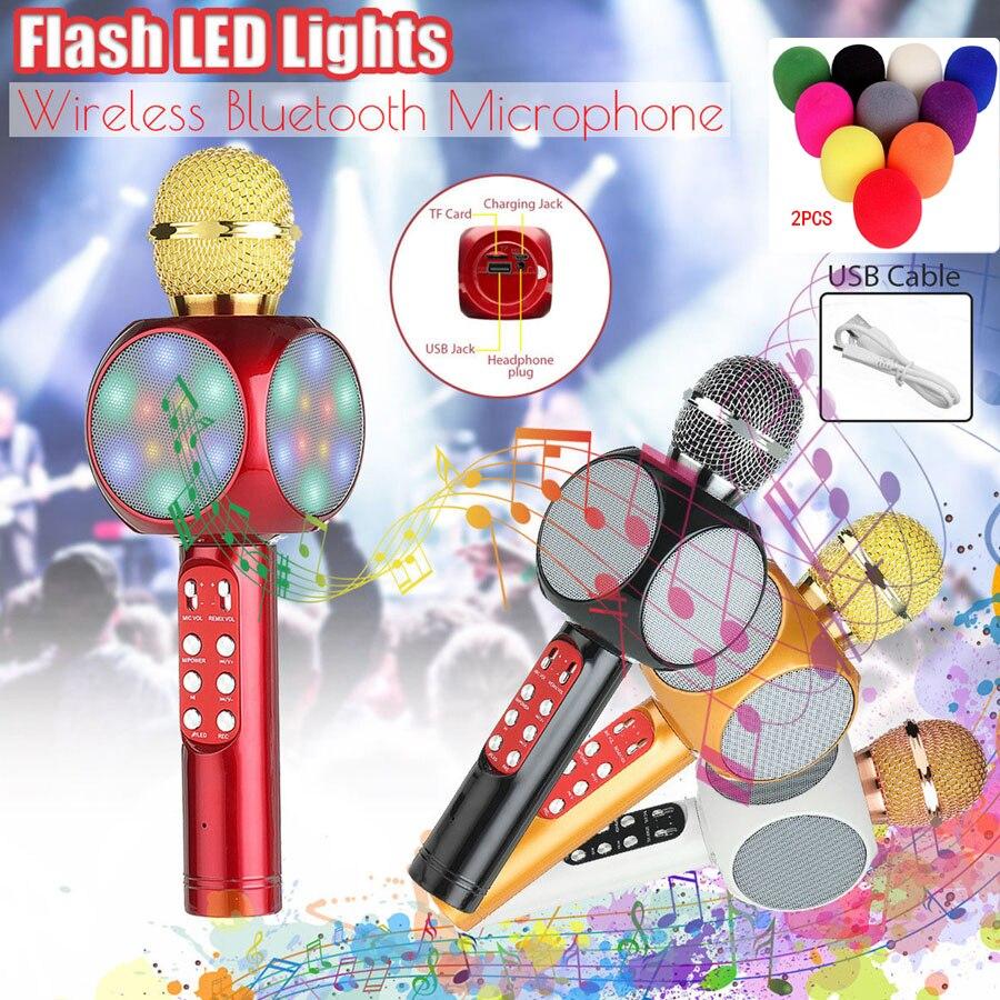 Wireless Bluetooth KTV Speaker Mini Home Mic Microphone Fashion Flash LED Light Hanheld Microphone For Mobile