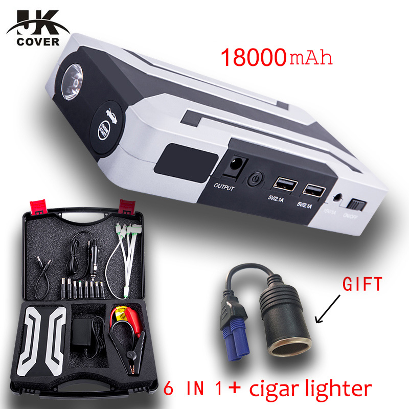 JKCOVER 1200A Car Jump Starter 18000mAh Power Bank Starting Device Booster 12V Emergency Car Charger For Car Battery Charger practical 89800mah 12v 4usb car battery charger starting car jump starter booster power bank tool kit for auto starting device