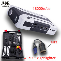 JKCOVER 1200A Car Jump Starter 18000mAh Power Bank Starting Device Booster 12V Emergency Car Charger For Car Battery Charger