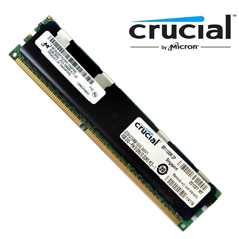 Memória registrada 1333 da memória ddr3 8 gb (pc3 10600) para servidores modelo ct51272bb1339 da ram ddr3 4 gb ecc reg crucial