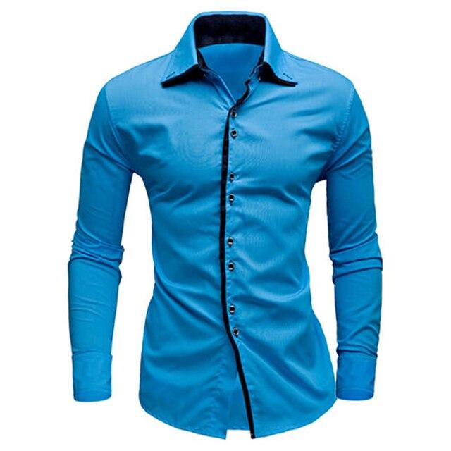 59a4fd59c7 Fashion Mens Camisas Para Hombre Luxury Casual Stylish Slim Fit Camisa  Social Shirt Long Sleeve Casual Dress Shirts Tops