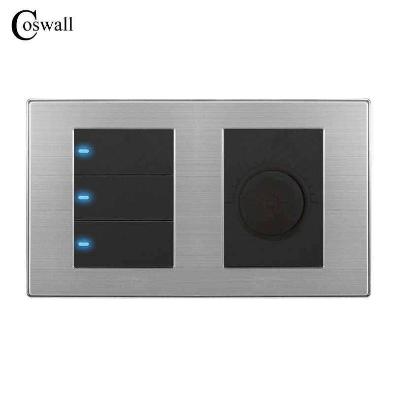 Coswall 3 Gang 1 Way Luxury LED Light Switch Push Button Wall Switch With Dimmer Regulator Stainless Steel Panel 160mm*86mm uk standard luxury 3 gang 1 way light switch and 86 86mm wall switch 110 250v push button switch