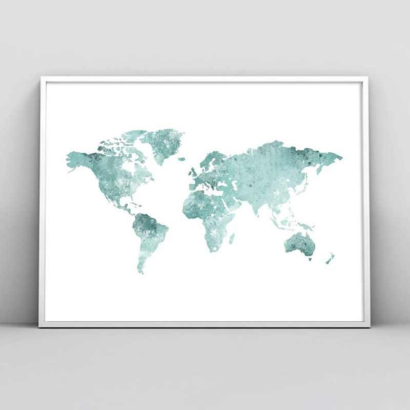 Abstract Watercolor World Map Nordic Posters And Prints Wall Art Canvas Painting Black White Wall Pictures For Living Room Decor
