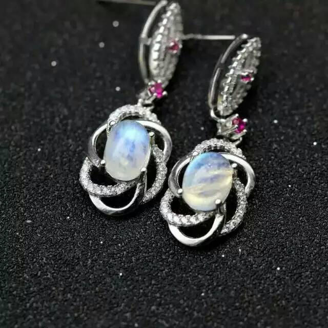 natural moonstone drop earrings 925 silver natural blue gemstone earrings women personality fashion party drop Earrings jewelry contrast drop earrings