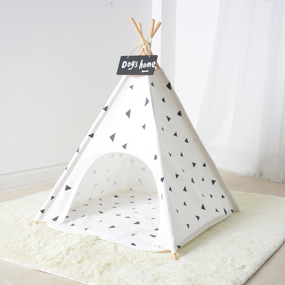Folding pet tent with comfortable floor mat dog cat bed room cotton fabric teepee wooden poles indian tipi pet cage animal house multifunctional warm dog bed with extra dog mat